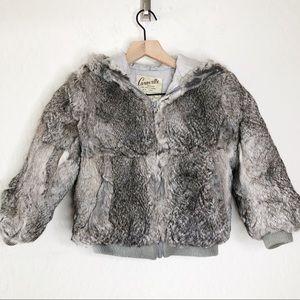 Vintage CARAVELLE Rabbit Fur Hooded Jacket 6X